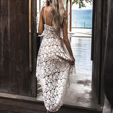 Deep V Neck Women Summer Spaghetti Strap Backless Lace Sleeveless Beach Dress