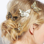 6Pcs Shining Metal Hair Clips Golden Butterflies Girls Hair Accessories