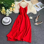 Spaghetti Strap Open Back Solid Beach Style Ankle-Length Women Dresses