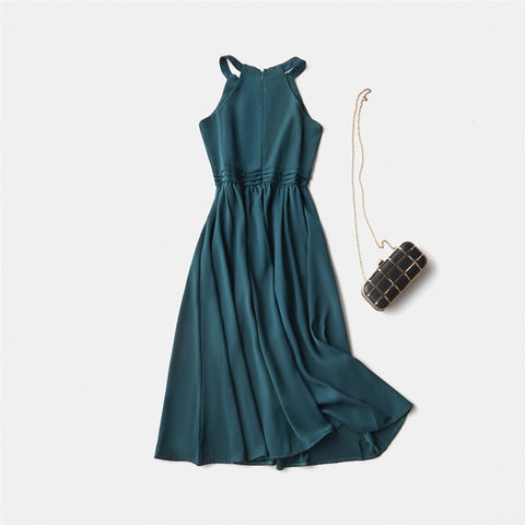 Summer Style Sleeveless Spaghetti Strap Empire A-Line Ankle-Length Soild V-Neck Women Dresses