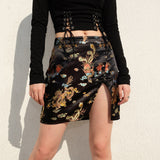Korean Style Black Hip Skirts Irregular Mini Skirt Mini Skirt