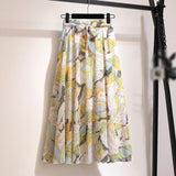 Korean Style Knee Length Elegant Button High Waist Long Skirt