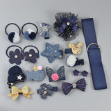 18 Piece hair clip set Cute Hair Accessories Girl headwear Bow Flower animal Hairpins hair band cartoon Elastic Headdress Gift