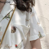 Neploe Angle Pattern Print Blouse Women Kong-Style Single Breasted Long Sleeve Female Shirts Loose Casual Ladies Tops A10033