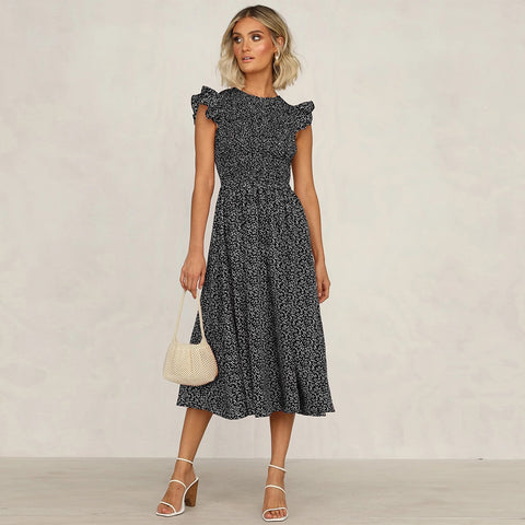 Ruffles Women Fashion Dresses Lady Summer Mid Length Print Dress