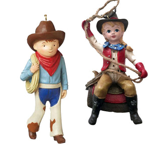 Western cowboy country Christmas ornaments - cowboy and cowgirl children holding lassos
