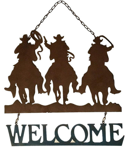 3 cowboys on horses country western welcome sign