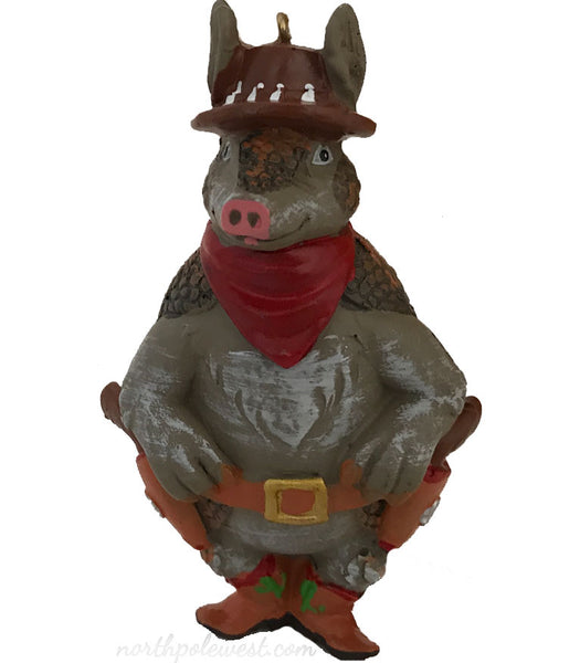 standing armadillo with cowboy boots, hat,bandana and holster country western cowboy Christmas ornament from North Pole West