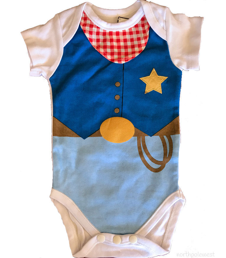 cowboy baby sheriff jumpsuit gift from North Pole West Cowboy Christmas Store