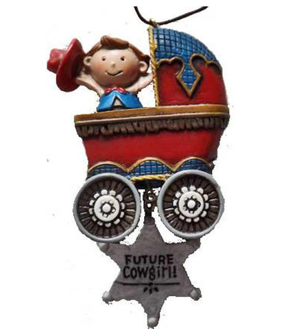 Cowgirl Baby in Stroller Ornament - North Pole West Cowboy Christmas