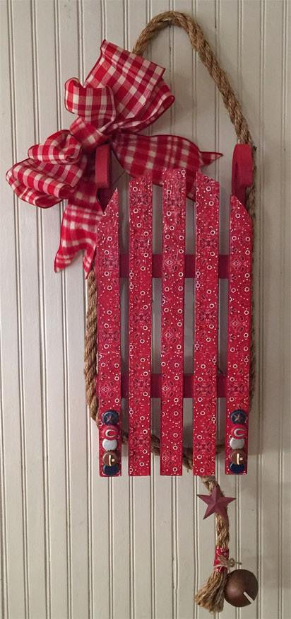 Unique Cowboy Country Christmas bandana wood sled wall hanging from North Pole West