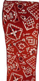 cowboy country western wired bandana print red and white  ribbon