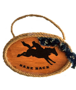 Wood Cowboy  Rodeo Bare Back Rider Christmas Ornament
