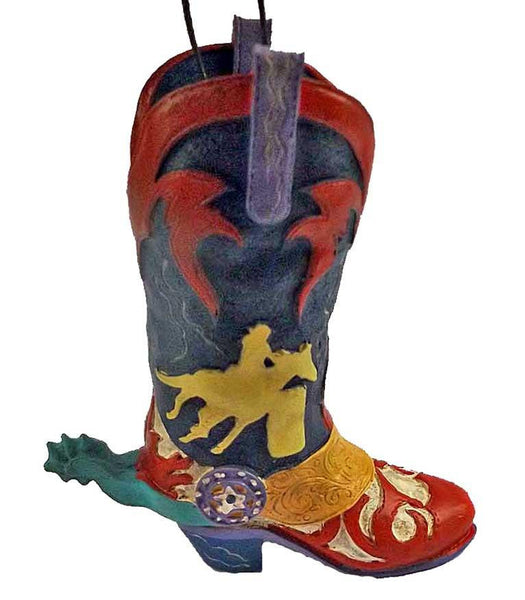 Colorful Wild West Rodeo Cowboy Boot Ornament with spur- Barrel Racer - North Pole West Cowboy Christmas Store - 1