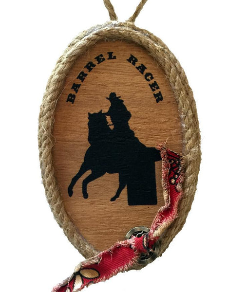 Wood Cowgirl  Rodeo Barrel Racer Christmas Ornament