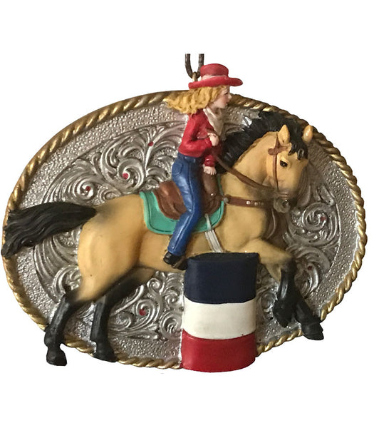 cowgirl barrel racer belt buckle style rodeo Christmas ornament or good for crafts and western decor from North Pole West