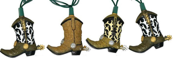 Country western Christmas Lights Cowboy Boots Design  - North Pole West Cowboy Christmas