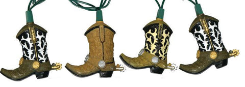cowboy country western Christmas Light strand Cowboy Boots Design  - North Pole West Cowboy Christmas