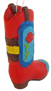 Pinata Cowboy Boot with rose Southwestern Christmas Ornament - North Pole West Cowboy Christmas Store - 1