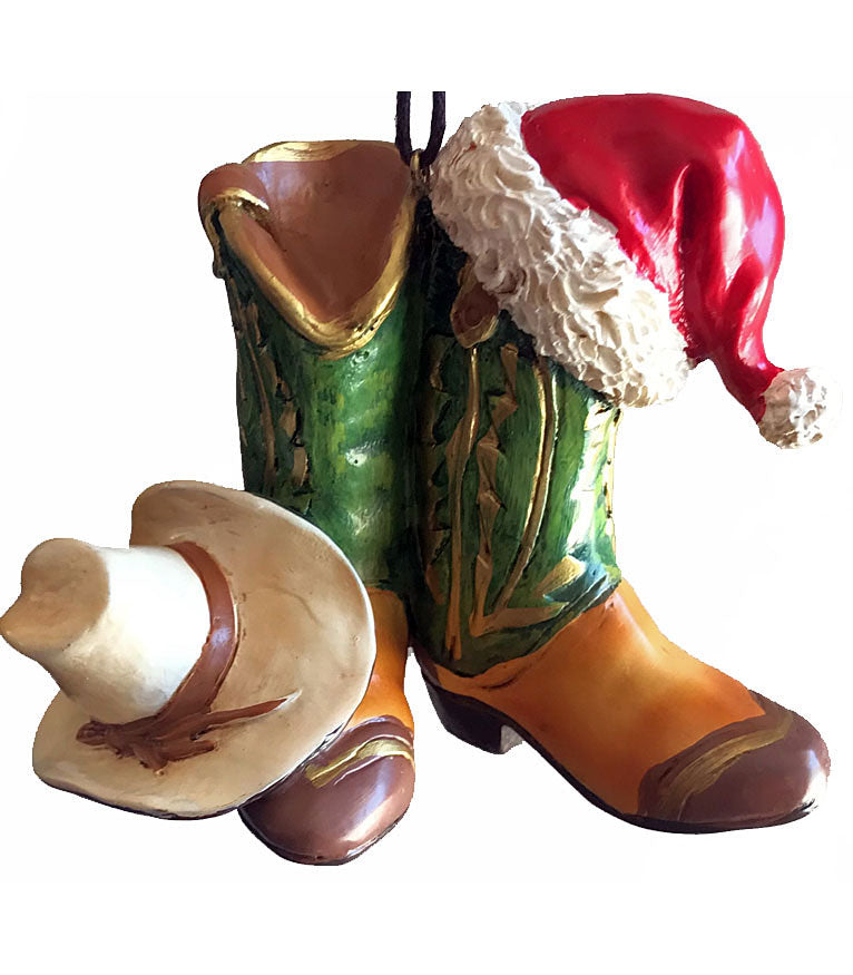 Pair of green cowboy boots with white cowboy hat & Santa Claus hat cowboy Christmas ornament from North Pole West