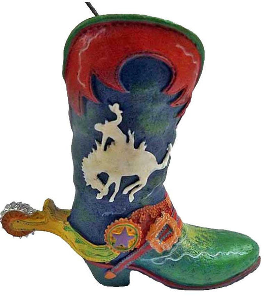 Wild West Rodeo Cowboy Boot Ornament- Bronc Buster - North Pole West Cowboy Christmas Store - 1