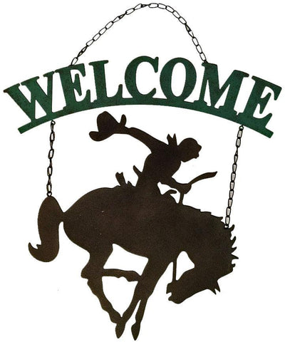 Country western cowboy on bucking horse welcome sign
