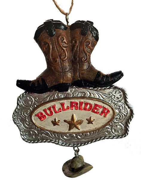 Bull Rider Buckle cowboy Christmas Ornament with Boots and dangle cowboy hat-western decor