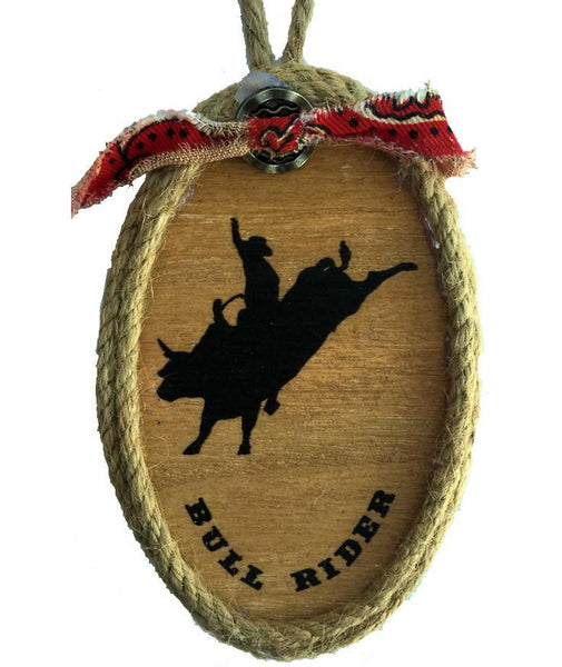 Wood Cowboy  Rodeo Bull Rider Christmas Ornament