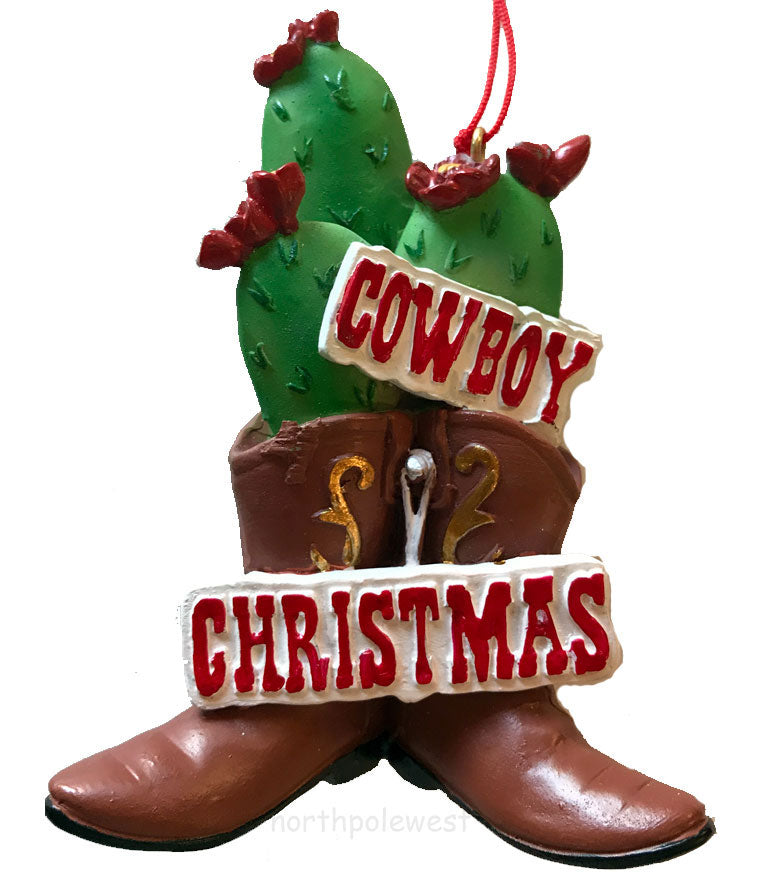 Cowboy Christmas ornament-cowboy boots and cactus with a Cowboy Christmas sign from North Pole West
