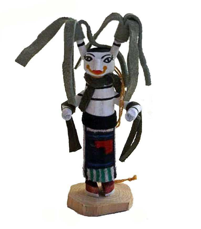 Native American Kachina Clown Ornament-Grey - North Pole West Cowboy Christmas