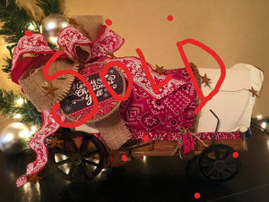 Cowboy Christmas home/party decor -covered wagon with bandana