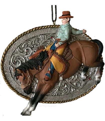 Cowboy bronc buster rodeo Christmas ornament from North Pole West the Cowboy Christmas store