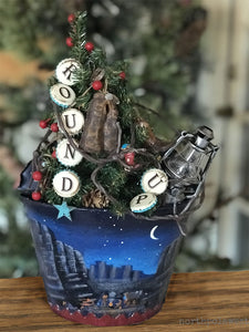 cowboy Christmas mini tree tabletop decoration from North Pole West