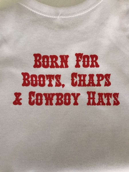 back of cowboy baby sheriff jumpsuit gift from North Pole West Cowboy Christmas Store