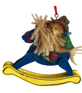 cowboy Christmas tree ornament- cowboy bear on rocking horse for country western holiday decor from North Pole West