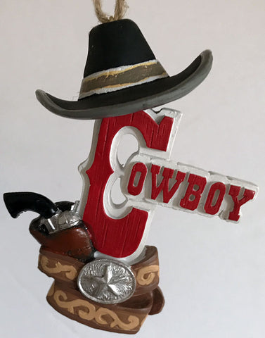 cowboy Christmas ornament with cowboy hat and gun belt