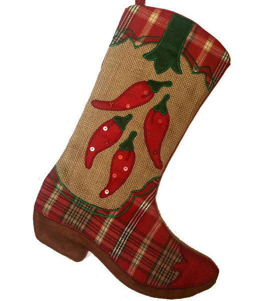 cowboy boot Christmas stocking with chili pepper design country western or southwestern decoration