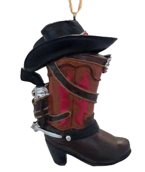 Cowboy Christmas Ornament - red and tan boot with black cowboy hat and six-gun