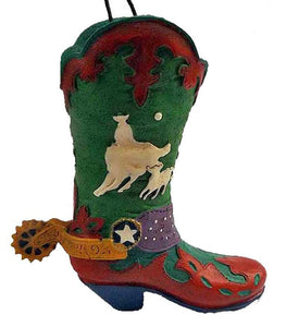 Wild West Rodeo Cowboy Boot Ornament- Calf Roper - North Pole West Cowboy Christmas Store - 1