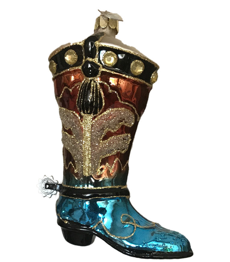 Shiny glass cowboy boot Christmas ornament with spur and sparkles from North Pole West Cowboy Christmas Store