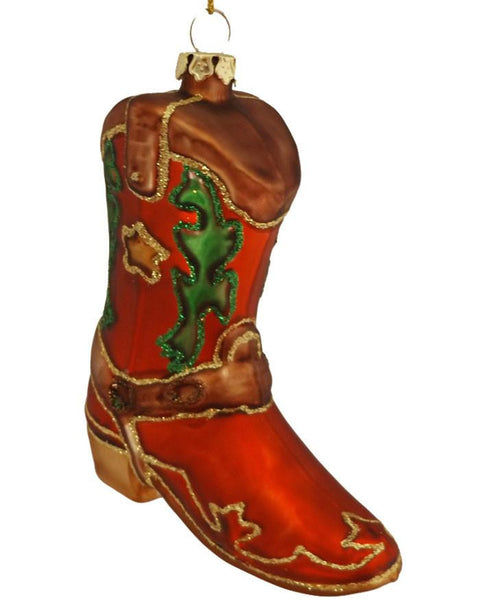 glass cowboy boot with cute star country western Christmas ornament