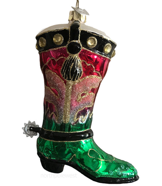 Shiny glass red and green cowboy boot Christmas ornament with spur and sparkles from North Pole West Cowboy Christmas Store