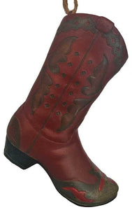 country western red cowboy boot Christmas ornament or good for western crafts