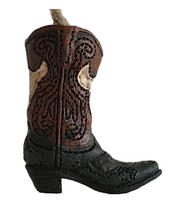 Mini Cowboy Boot Ornament - Longhorn Brown