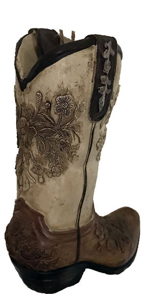 "Cowboy Boot Ornament - Tan/Brown Embossed- ""The Wild Rose"""