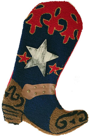 cowboy boot Christmas stocking - rug hook dark blue with star