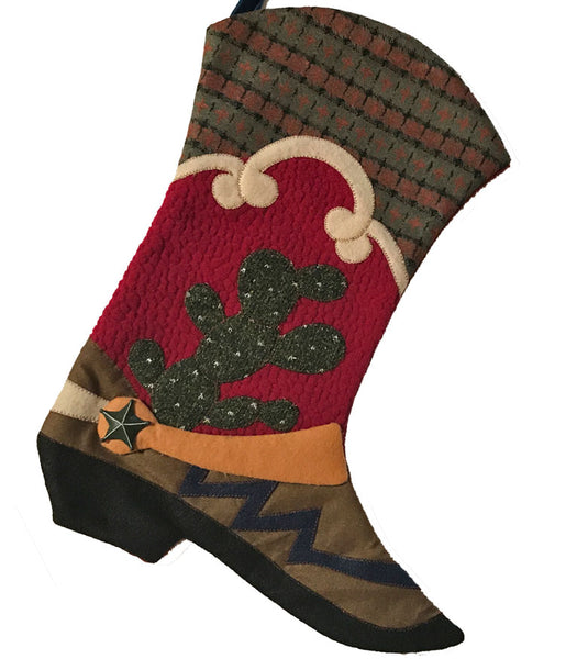 Cowboy boot Christmas stocking with cactus, country plaid and swirl design from North Pole West