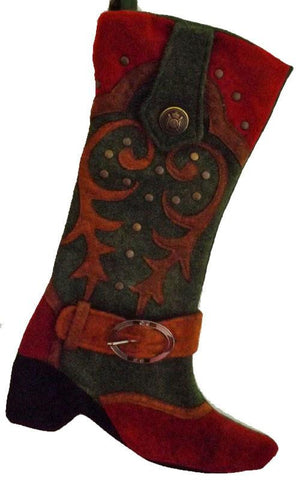 green and red cowboy boot Christmas stocking western country decor