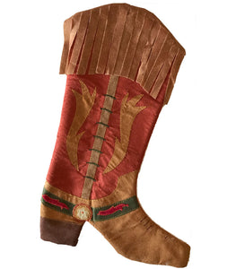 Warm brown with fringe cowboy boot Christmas holiday stocking from North Pole West