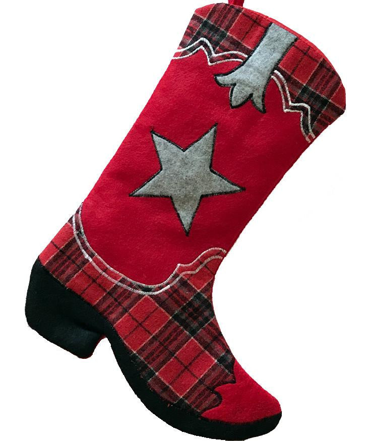 Cowboy boot Christmas stocking with a red plaid pattern and fuzzy star.